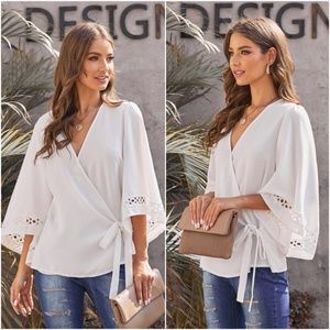 DAIsy Side Tie Blouse - WHITE
